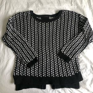 Black and white chunky knit